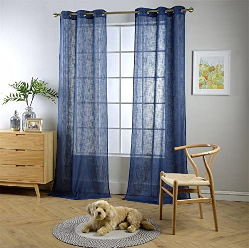 MIUCO Semi Sheer Curtains Poly Linen Textured Solid Grommet Curtains 95 Inches Long for Living Room 2 Panels 2 x 37 Wide x 95 Long Navy Blue