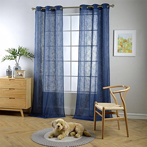 Miuco Semi Sheer Curtains Poly Linen Textured Solid Grommet Curtains 84 Inches Long for French Doors 2 Panels (2 x 37 Wide x 84