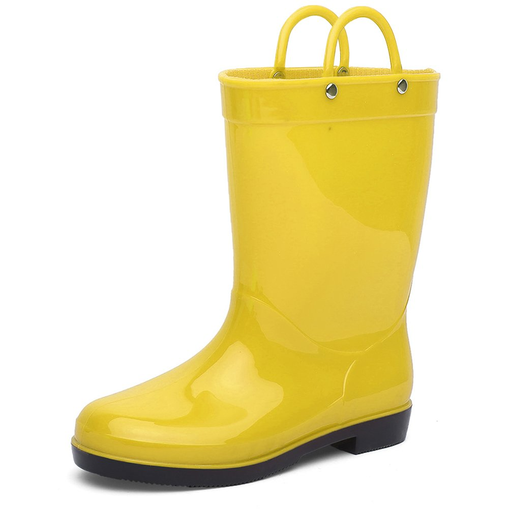 CIOR Toddlers Rain Boots Durable Kids Waterproof Shoes with Handles Easy On for Girls and Boys,Yellow,24