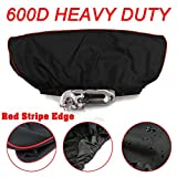 Winch Cover - Deluxe 600D Material winch covers, Heavy duty Waterproof Winch Protector Fits 8,500 to 17,500 Pound Capacity Winches (Red Stripe Edge)