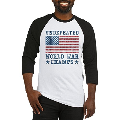 Champ 3/4 Sleeve Raglan Shirt - CafePress - Undefeated World War Champs Baseball Jersey - Cotton Baseball Jersey, 3/4 Raglan Sleeve Shirt
