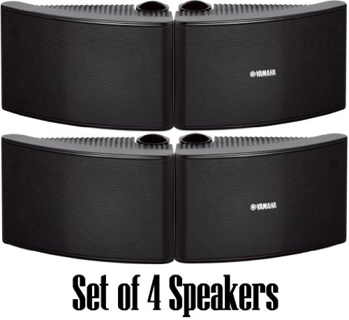 Yamaha All Weather Outdoor / Indoor Wall Mountable Natural Sound 180 watt 2 way Acoustic Suspension Speakers - Set of 4 - Black - with 100ft 16 AWG Speaker Wire - Compatible with All Audio / Video Home Theater Sound Systems, Components, CD Players, or Receivers - Also Designed for Book Shelf or Desktop Use