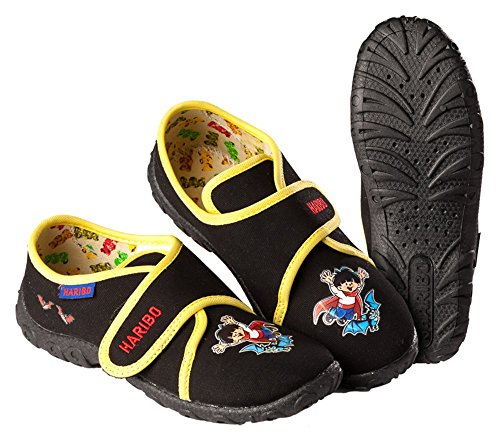 Pantoffeln Hausschuhe HARIBO Mädchen Jungen schwarz Größe: 25 - 35 (25)