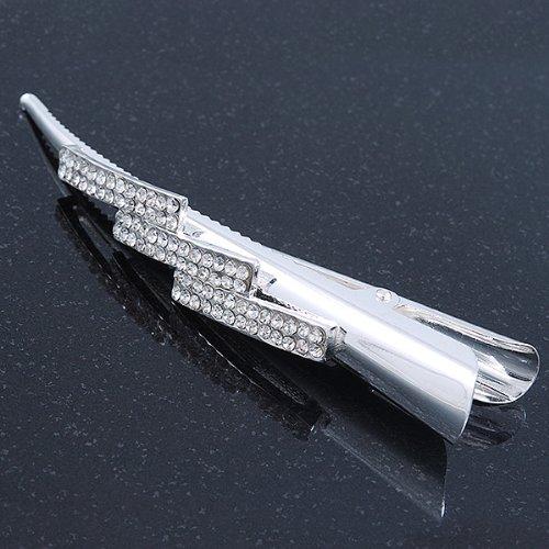 rhodiniert Unbekannt Avalaya Haarklammer//Haarspange 13 cm lang klare Kristalle