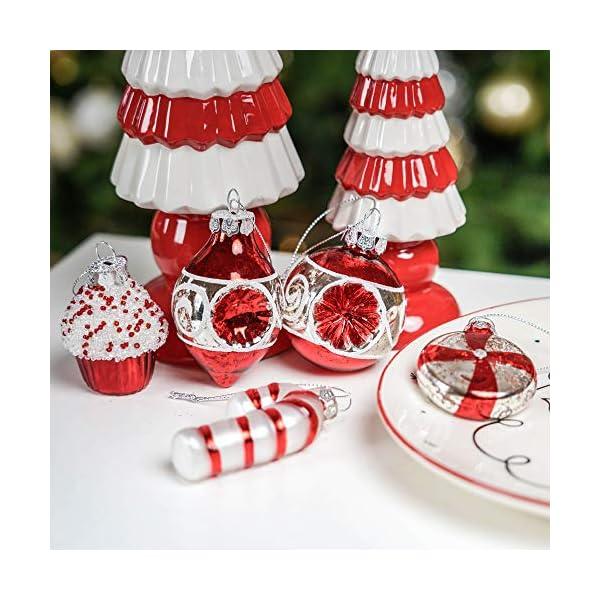 Valery Madelyn Palle di Natale Vetro Addobbi Natalizi Set, 16 Pezzi 6-8cm Traditional Red And White Palline di Natale Decoration for Addobbi Natalizi per Albero 7 spesavip
