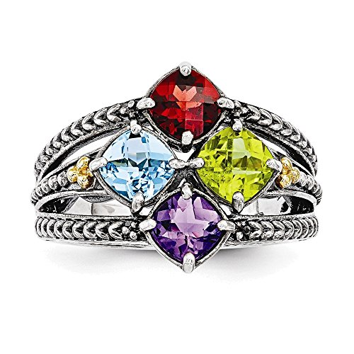 Jewelry Adviser Rings Sterling Silver & 14k Four-stone Mother's Ring Mounting Size 7 14k Ring Mounting