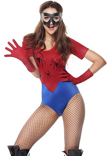 Spider Costume For Adults (Lusiya Women's Spider Girl Hero Halloween Costume with Spider Web Print Red-blue Medium)