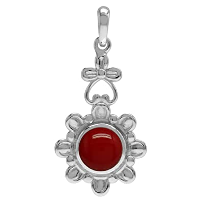 Round RED CORAL /& 925 Sterling Silver Pendant Jewellery