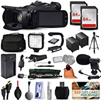 Canon XA25 Professional Camcorder Video Camera + 128GB Boardcasting Filmmakers Package with LED Night Light + Tripod + Monopod + Action Stabilizer + Handgrip + Microphone + More