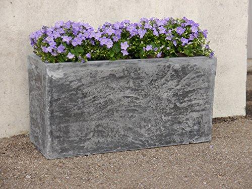 Pflanztrog ROCKS 100x40x50cm aus Fiberglas in grau, Pflanzkübel, Blumenkübel, Pflanzgefäß, Blumenkasten