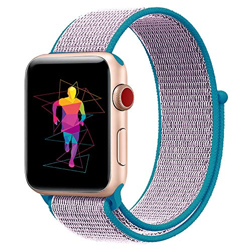 INTENY Sport Band Compatible for Apple Watch 42mm, Breathable Nylon Sport Loop Replacement Strap Compatible for iWatch Series 3, Series 2, Series 1, Hermes, Nike+, Edition (Lanveder, 42mm)