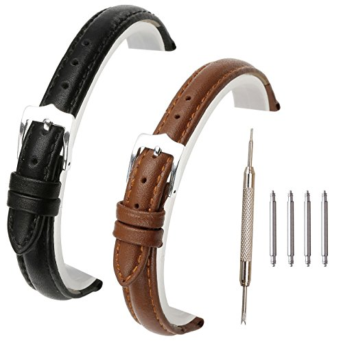 Top Plaza 2 Pcs 12mm/18mm/20mm/22mm Black Brown Genuine Leather Band Replacement Leather Wrist Watch Band Strap With Stainless Steel Buckle (12mm)
