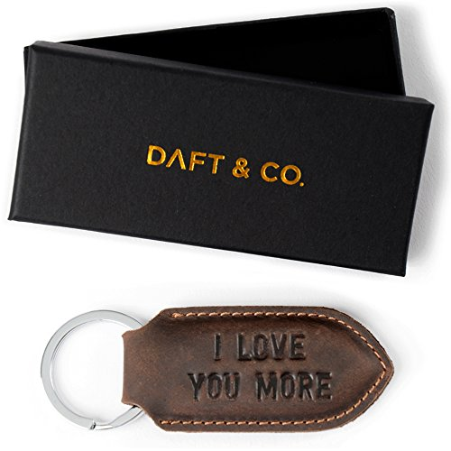 Daft & Co. Premium Genuine Leather Keychain & Gift I Love You More (Brown S)