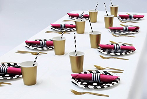 Pink Black and White Paris Theme Bridal Shower Decorations Kit Makes Party Planning Simple Serving Set for (Evening In Paris Theme Party)