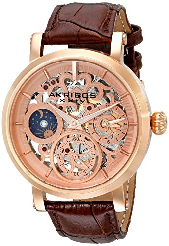 Akribos XXIV Men's AK745RG Automatic Movement Watch with Rose Gold and See Thru Dial and Brown Leather Strap