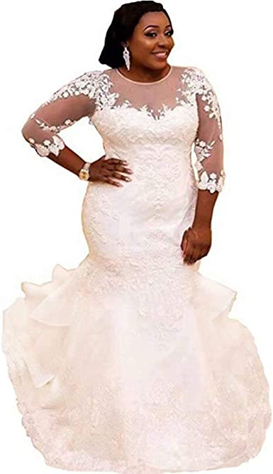 Amazon Com Chady Women S Plus Size Mermaid Wedding Dress For