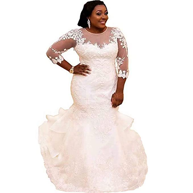 Chady Women\'s Plus Size Mermaid Wedding Dress for Bride Elegant Lace  Applique Beading Bridal Gowns