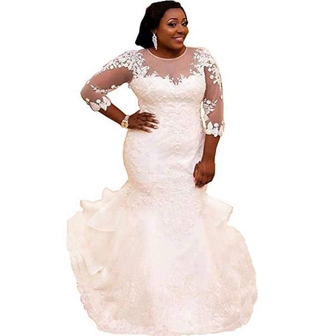 Chady Women\'s Plus Size Mermaid Wedding Dress for Bride Elegant Lace  Applique Beading Bridal Gowns