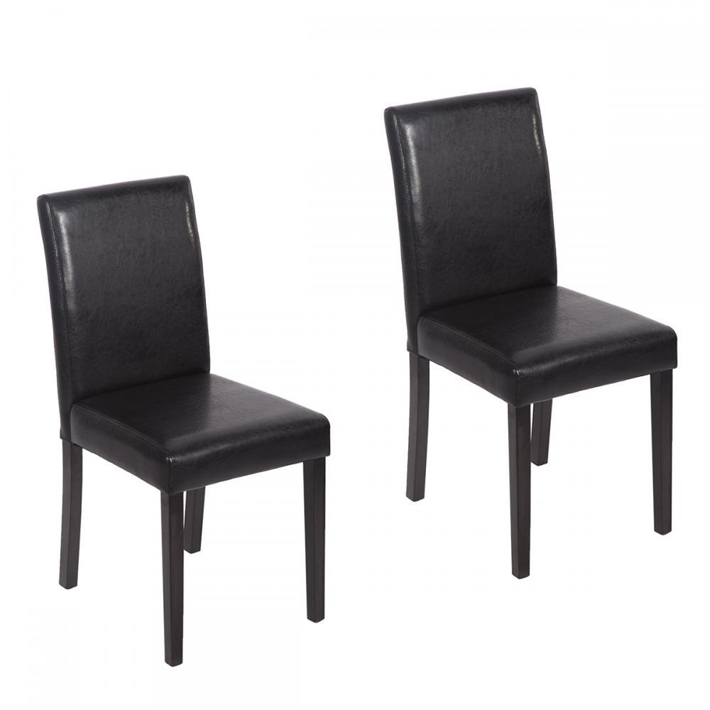 Amazon.com: Set of 4 Urban Style Leather Dining Chairs With Solid ...