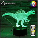 ZOKEA Night Light 3D lamp 7 Colors Changing LED Nightlight with Smart Touch & Remote Control 3D Night Lights for Kids or as Gifts for Women Kids Girls Boys (Dinosaur Spinosaurus)
