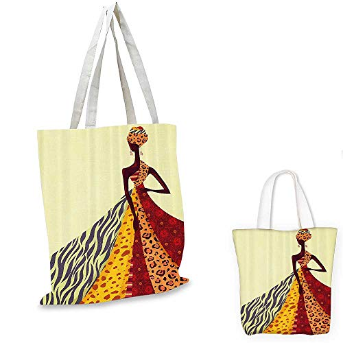 Afro royal shopping bag African Girl Posing with a Dress of Different Design Patterned Image funny reusable shopping bag Multicolor. -