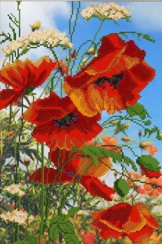- Field Poppies Needlepoint Bead Embroidery DIY kit Floral beadpoint Pattern Summer Flowers Beaded Cross Stitch kit Set Stickerei mit Perlen