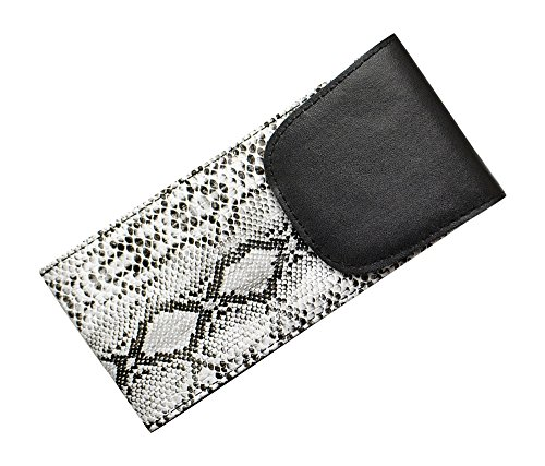 Soft Eyeglass Case With Velcro Flap, Slip In Glasses Holder For Women In Faux Snake Skin, Gray