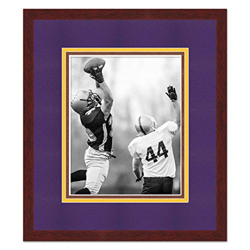 Minnesota Vikings Brown Wood Frame For a 5x7 Photo with a Triple Mat - Purple, Gold, and Football Textured Mats (Purple And Gold Picture Frame)