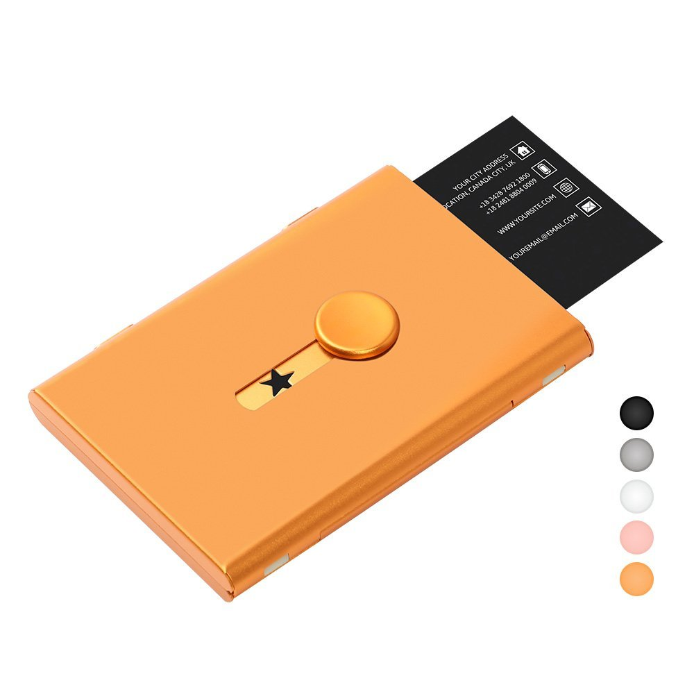 FAYEAH Business Card Holder, Thumb-Drive Business Card Case Stainless Steel Card Holder Card Case Excellent Design for Men and Women (Rose Gold)