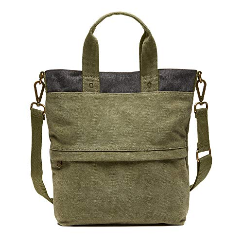- FEED Cotton Canvas Go-To Crossbody Bag with Zippered Pockets and Removable Strap for Weekend/Travel - Burnished Olive