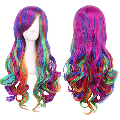 Long Rainbow Wavy Wig Hip Hop Wig Colorful Fiber Synthetic Wig Explosion wig,Hippie Costume Wig,Halloween Costume Party Wig,Both men and women are suitable for wearing (65cm, Multicolor) ()