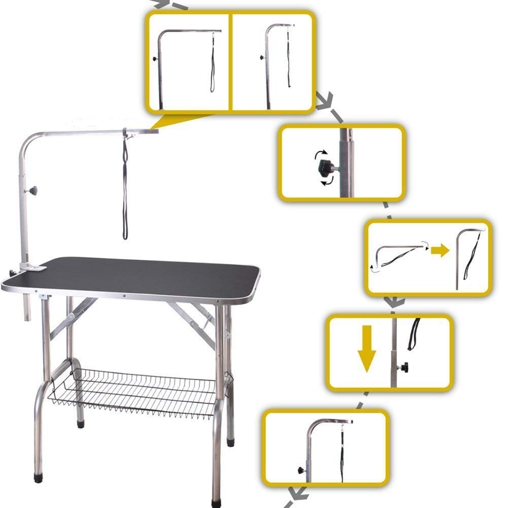 Polar Aurora Pingkay 36'' Heavy Duty Pet Professional Dog Show Foldable Grooming Table w/Adjustable Arm & Noose & Mesh Tray by Polar Aurora (Image #6)