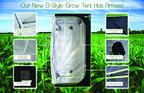 """51X1xUJqZML - MILLIARD Horticulture D-Door 36"""" x 36"""" x 73"""" 100% Reflective Mylar Hydroponic Grow Tent with Window, Great for Indoor Planting and Early Seedling Starters"""