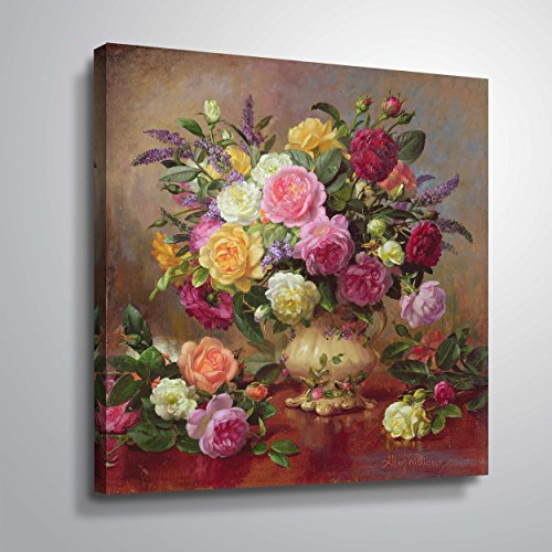 (ArtWall williams-b-007-36x36-w Albert Williams 'Roses from a Victorian Garden' Gallery-Wrapped Canvas Artwork, 36 by 36-Inch )