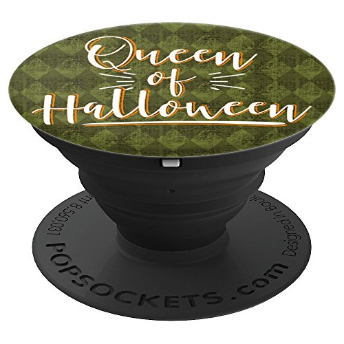 Queen of Halloween Orange White Script Halloween Lover Gifts - PopSockets Grip and Stand for Phones and Tablets ()