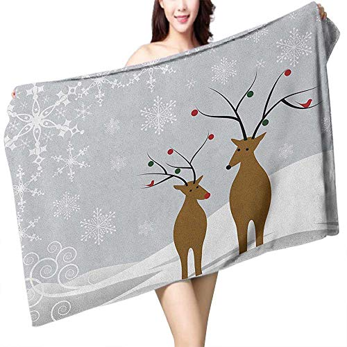 homecoco Soft Bath Towel Christmas Cute Reindeers at Noel Time Yule with Snowflakes in Winter Santa Print W28 xL55 Suitable for bathrooms, Beaches, Parties ()