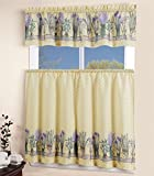 Kitchen Window Treatments French Country MarCielo 3 Piece Printed Floral Kitchen/Cafe Curtain With Swag and Tier Window Curtain Set, Purple, Yellow, Lavender