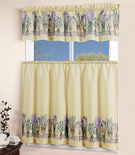 MarCielo 3 Piece Printed Floral Kitchen/Cafe Curtain With Swag and Tier Window Curtain Set, Purple, Yellow, Lavender - Yellow Swag Curtains
