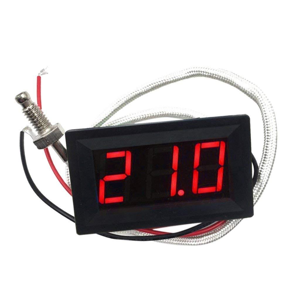 SGerste DC 12 V -30 à 800 degrés Celsius Thermomètre numérique LED Détecteur de température 3 couleurs Affichage Médiator Rouge 48 x 29 x 23 mm