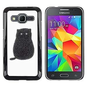 TopCaseStore / la caja del caucho duro de la cubierta de protección de la piel - Black Cartoon Cat Kitten White Minimalist - Samsung Galaxy Core Prime SM-G360