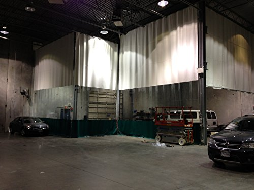 - Bodyshop Paint Booth Vinyl Curtain - 3 Colors Top: White Middle: Clear and Bottom: Blue - Width 15 ft. X Height 12 ft. - 18 oz Fire Rated Curtain - Hardware Included (Threaded Rod Kit)