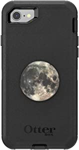 Otter + Pop for iPhone SE, 7 and 8: OtterBox Defender Series Case with PopSockets Swappable PopTop - Black and Moon