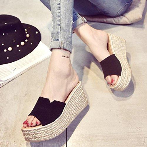 Wedge Hausschuhe Schuhe High Plattform LvYuan Frauen wasserdichte Strand Sandalen Black Casual Sommer dicken Komfort Fashion Boden Scrub Heel Ferse EYTxqT7