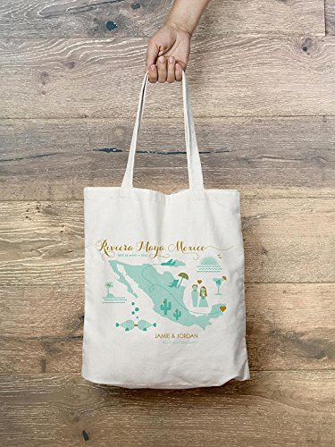Customizable Destination Wedding Welcome Canvas Tote Bag • Riviera Maya • Mexico • Personalized Rustic Glam Beach Bag • Wedding Party Favor