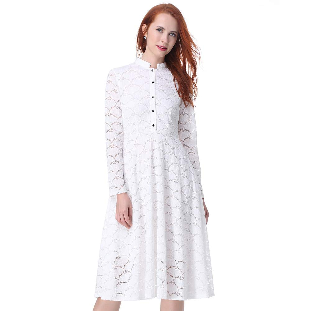 FUZHUANGHM Elegant Black White Lace Office Women Dress Stand Collar Long Sleeves Retro Dress