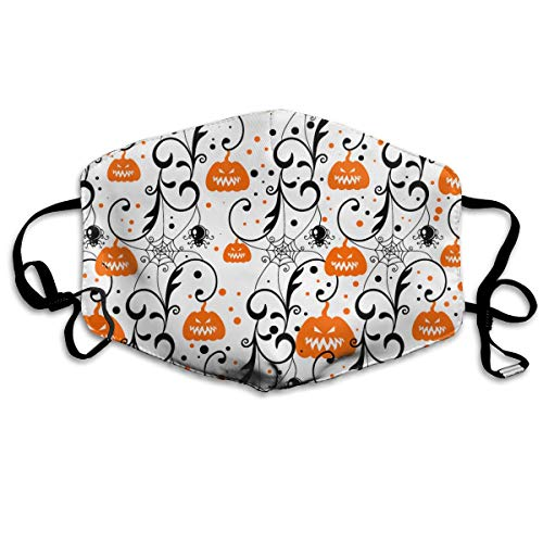 Soft Earloop Mouth Masks, Anti-Dust Anti Flu Bacteria Virus Smog Mouth-Muffle with Adjustable Elastic Band - Windproof Happy Halloween Party Pumpkin Half Face Mouth Mask ()