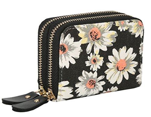 Womens Zipper Card Wallet Purse Holder Women Small Canvas Clutch Bag Coin Pouch Elephant (Small, Black Floral)