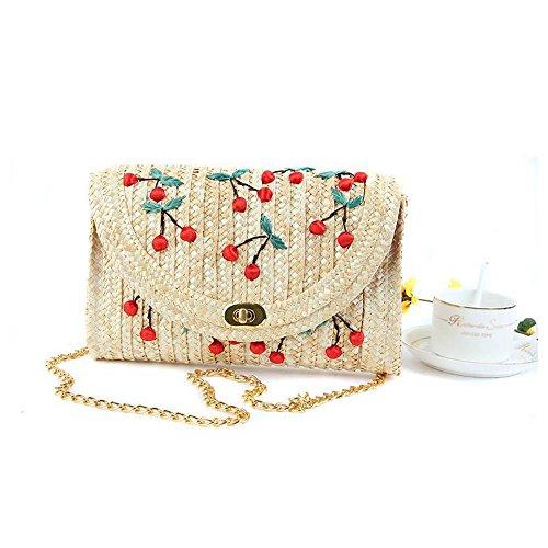 mixinni® Schultertasche Kirsche Muster Stroh Gewebte Taschen Casual Schulterklappe Schultertaschen Crossbody Bags für Damen und Mädchen