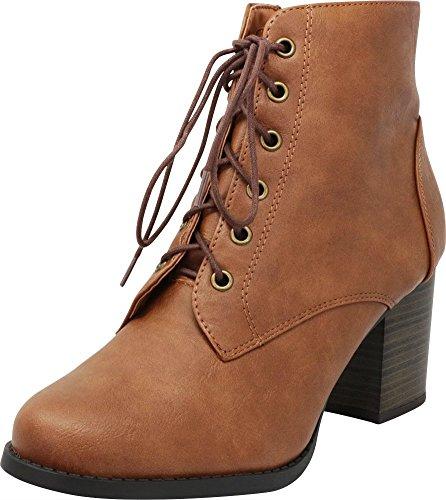 Cambridge Select Women's Round Toe Lace-Up Chunky Stacked Block Heel Ankle Bootie,10 M US,Tan Pu