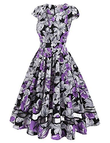 ACEVOG Damen 50s Vintage Rockabilly Kleid Festliches Kleid Blumenkleid  Partykleider Knielang mit Netzeinsatz Violett R7SXhQ ... e2644a71af